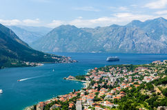 Top view on Kotor city and bay Stock Image