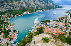Top view of the Kotor and Kotor Bay, Montenegro Stock Photography