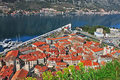 Top view of Kotor old town Royalty Free Stock Photo
