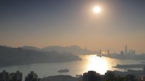 Top view of Kowloon , Hong Kong city stock video