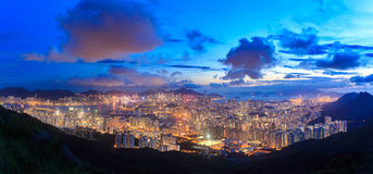 Top view Kowloon and Hong kong sky. Stock Photography