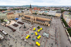 Top view of the Krakow Central Market Square Royalty Free Stock Photography