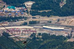Top view of Krasnaya Polyana, Sochi, Russia. Royalty Free Stock Photo