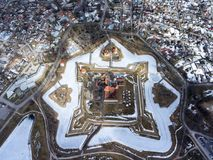 Top view at Kuressaare town with Castle and surroundings at spring season. The Saaremaa island, Estonia, Europe Stock Images
