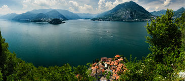 Top view on Lago di Como. Aerial view on Lake Como and Varenna from Castello di Vezio, Lombardy, Italy Royalty Free Stock Photo