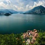 Top view on Lago di Como. Aerial view on Lake Como and Varenna from Castello di Vezio, Lombardy, Italy Stock Image