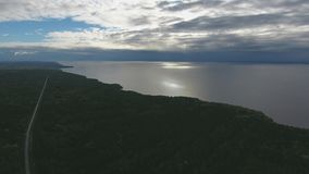 Top view of the Lake and beach stock footage