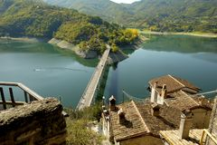Top view of the lake from Castel di Tora, near Rieti, Italy. stock photo