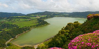 The top view on lake Furnas, Azores Royalty Free Stock Image