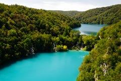 Top view of Lake Gavanovac and Milanovac at the national park Plitvice Lakes. Stock Photo