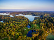 Top view of lakes next to Trakai and Vilnius, Lithuania royalty free stock photos