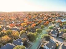 Free Top View Lakeside Houses And Fall Foliage Near Dallas, Texas Stock Photo - 134541820