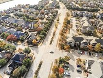 Top view lakeside residential area with colorful autumn fall lea stock photos