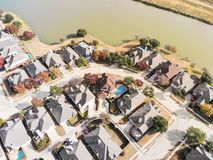 Top view lakeside residential area with colorful autumn fall lea royalty free stock photo