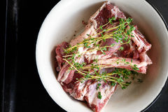 Top view of lamb loin and thyme Stock Photos