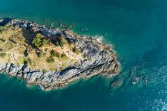 Top view landscape of Beautiful tropical sea with Sea coast view in summer season image by Aerial view drone shot, high angle view.  royalty free stock image