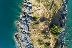 Top view landscape of Beautiful tropical sea with Sea coast view in summer season image by Aerial view drone shot, high angle view.  stock image