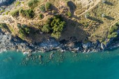 Top view landscape of Beautiful tropical sea with Sea coast view in summer season image by Aerial view drone shot, high angle view.  royalty free stock photography