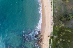 Top view landscape of Beautiful tropical sea in summer season image by Aerial view drone shot, high angle view.  stock photo