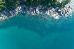 Top view landscape of Beautiful tropical sea in summer season image by Aerial view drone shot, high angle view.  stock image