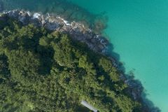 Top view landscape of Beautiful tropical sea in summer season image by Aerial view drone shot, high angle view.  royalty free stock image