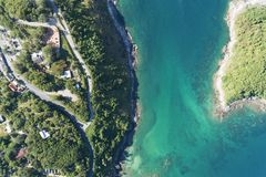 Top view landscape of Beautiful tropical sea in summer season image by Aerial view drone shot, high angle view.  royalty free stock photography