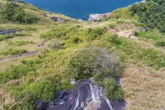 Top view landscape of Beautiful tropical sea in summer season image by Aerial view drone shot, high angle view.  stock photography