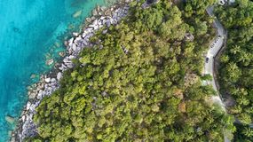 Top view landscape of Beautiful tropical sea in summer season image by Aerial view drone shot, high angle view royalty free stock images