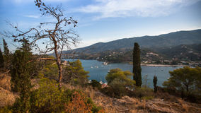 Top view of the landscape of Poros island Royalty Free Stock Images