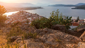 Top view of the landscape during sunset of Poros island Royalty Free Stock Photo