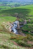 Top view of landscape with waterfall and abandoned mill. In Cobreces, Cantabria, Spain, Europe royalty free stock photography