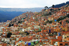 Top view of Lapaz, Bolivia Stock Photography