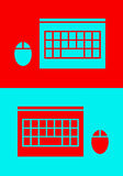 TOP-VIEW LAPTOP AND MOUSE ICON Stock Photography