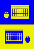 TOP-VIEW LAPTOP AND MOUSE ICON Royalty Free Stock Photos