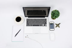 Top view laptop or notebook workspace office Stock Photos