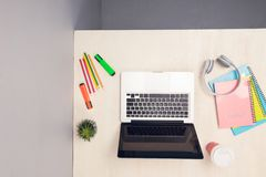 Top view laptop or notebook workspace office on white table.  Stock Image