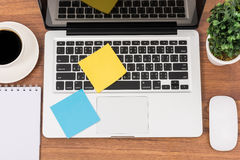 Top view laptop or notebook workspace office Royalty Free Stock Image