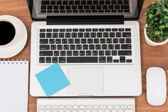 Top view laptop or notebook workspace office Stock Images