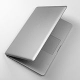 Top view of laptop on white table Royalty Free Stock Photo