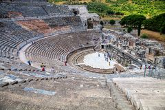 Top view of a large amphitheater in Ephesus, Turkey Royalty Free Stock Photography