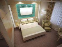 Top view on large business hotel room. 3D render Stock Images