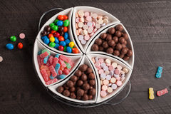 Top view of large container filled with candy Stock Photos