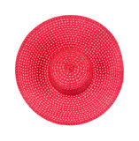 Top view of large floppy ladies hat. Top view of a new large brimmed red straw ladies hat on a white background Stock Photos