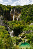 Top view of the Large waterfalls at Plitvice Lakes National Park. Large waterfalls at Plitvice Lakes National Park Royalty Free Stock Image