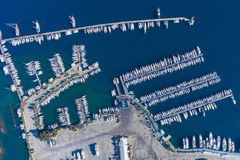 Top view of the large yacht marina. Aerial view by drone Stock Photo