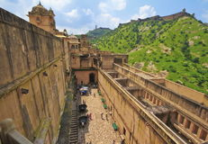 Amber Fort Jaipur. Top view of Last courtyard of Amber Fort with Jaigarh Fort boundary wall in bcakgrount ,Jaipur,Rajasthan royalty free stock photography