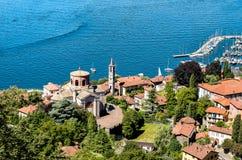 Top view of Laveno Mombello and lake Maggiore. Stock Photos