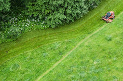 Top view of the lawn and mowing lawns Royalty Free Stock Photography