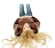Top view of laying blonde female Royalty Free Stock Photo
