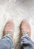 Top view leather shoe detail on floor Stock Photo